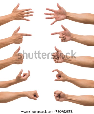Sum 10 picture of Men hand with show various action over white background, include clipping path