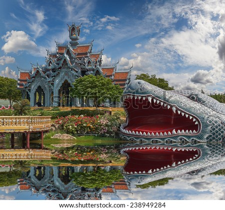 Sumeru Mountain, Ancient Siam (formerly known as Ancient City) is a park constructed under the patronage of Lek Viriyaphant and spreading over 200 acres (0.81 km2) in the shape of Thailand.