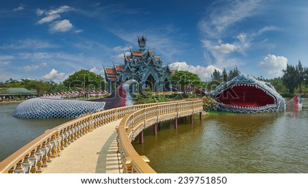 Sumeru Mountain Palace, Ancient Siam (formerly known as Ancient City) is a park constructed under the patronage of Lek Viriyaphant and spreading over 0.81 km2 in the shape of Bangkok, Thailand.