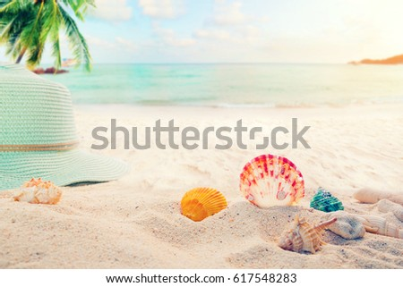 Summer accessories on sandy in seaside summer beach with starfish, shells, coral on sandbar and blur sea background. Concept of recreation in summertime on tropical beach.  vintage color tone styles. #617548283