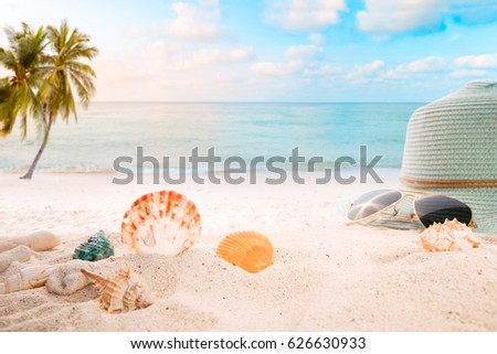 Summer accessories on sandy in seaside summer beach with starfish, shells, coral on sandbar and blur sea background. Concept of recreation in summertime on tropical beach.  vintage color tone styles. #626630933