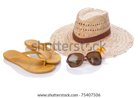 summer accessories on white with clipping paths
