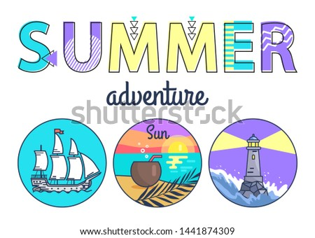 Summer adventure promo banner with round seascapes. large ship beach at sunset and lighted beacon in stormy water cartoon flat raster illustrations.