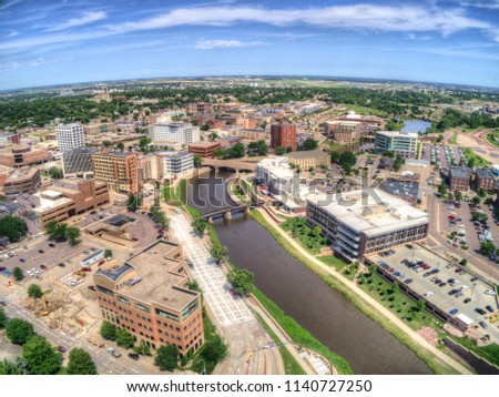 Summer Aerial View of Sioux Falls, The largest City in the State of South Dakota #1140727250