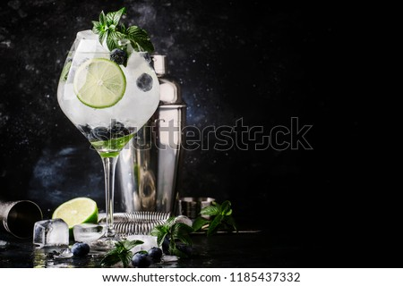 Summer alcoholic cocktail blueberry mojito with rum, green mint, lime and crushed ice, bar tools, gray bar counter, selective focus