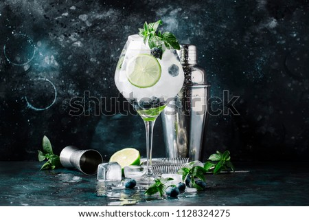 Summer alcoholic cocktail blueberry mojito with rum, mint, lime and ice, bar tools, gray background, selective focus Foto stock ©
