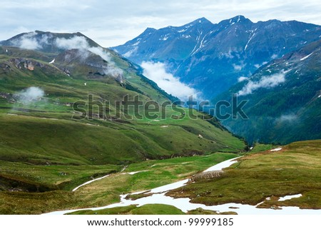 Summer Alps mountain (view from Grossglockner High Alpine Road)