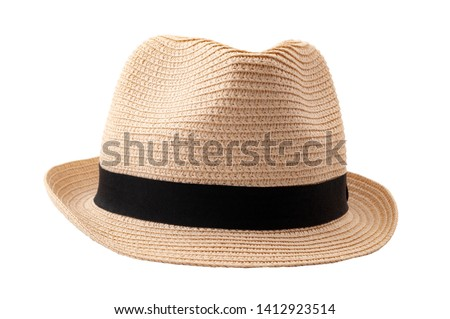 Summer and beach fashion, personal accessories and holiday headwear concept theme with a straw hat or fedora with a black strap or ribbon isolated on white background with a clip path cutout Stock photo ©
