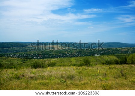 Summer and nature in Moldova. Blue sky, green fields