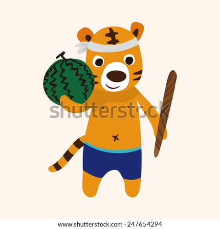summer animal tiger flat icon elements background
