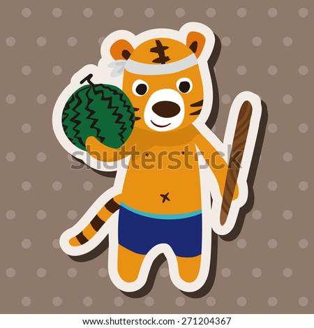 summer animal tiger icon cartoon stickers icon