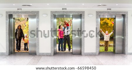 summer autumn  family in Three elevator doors in corridor of office building collage