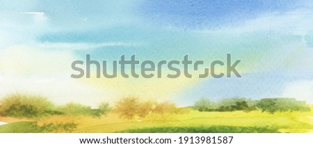 Summer (autumn) landscape  Abstract watercolor and acrylic flow blot smear painting. Color canvas texture horizontal long background.  Stock foto ©