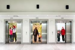 summer autumn winter family in Three elevator doors in corridor of office building collage