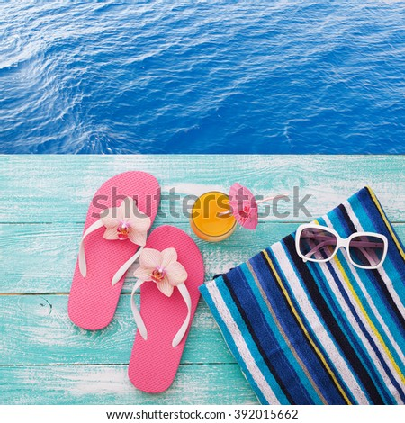 1bc49435c Royalty-free Summer vacation. Pink sandals by…  294947804 Stock ...