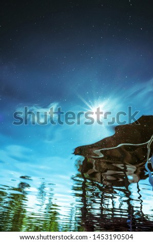 Summer background landscape - reflection in the water with ripples. Trees are reflected. Minimalism, blue and green shades. Place for text. #1453190504