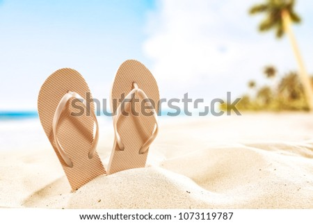 1551c207c91023 Summer background of beach and shoes on sand. Free space for your  decoration.