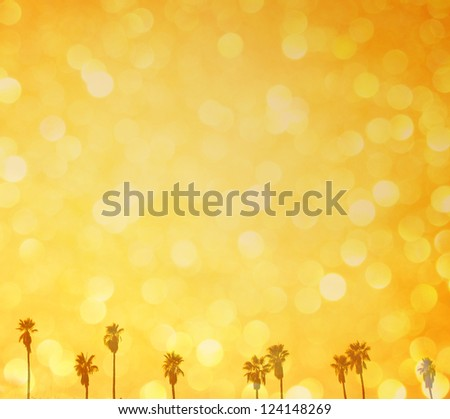 summer background of defocused lights and palm trees