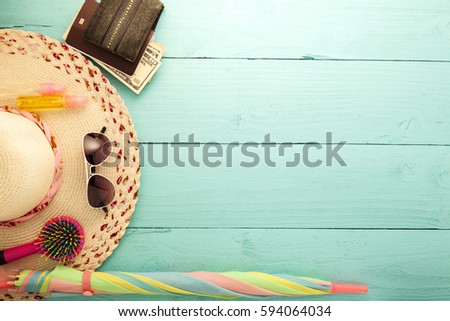 Summer background, set of summer accessories on wood background #594064034