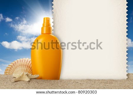 Summer background - suntan oil, shell and blank card - stock photo