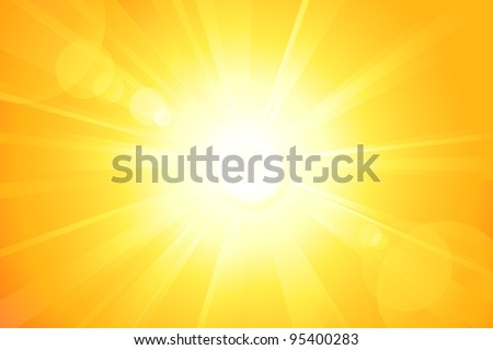 Summer background with a magnificent sun burst with lens flare. Hot with space for your message. Vector available in my port. - stock photo