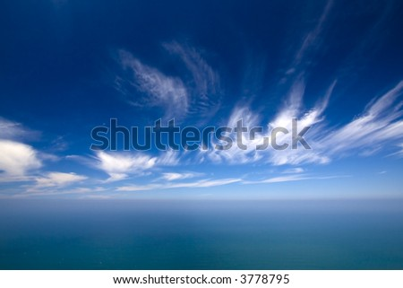 summer background with blue water and sky