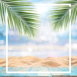 Summer background with frame, golden beach with rays of sun light and leaf palm. Copy space, summer vacation concept.