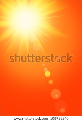 Summer background with magnificent summer sun