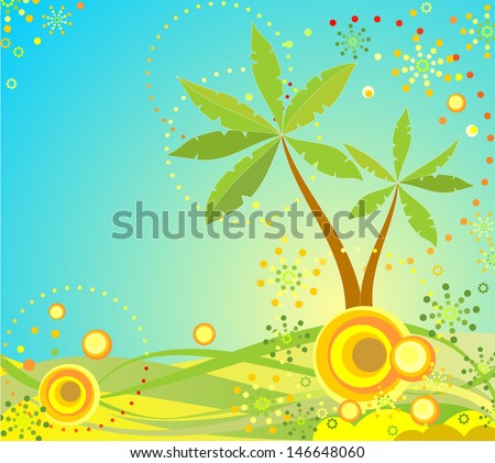 Summer background with palm. Raster copy of vector image