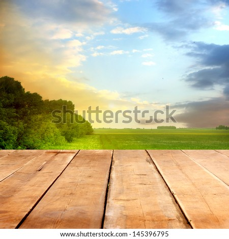summer background with wooden planks #145396795