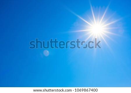 Summer background, wonderful blue sky with bright sun #1069867400