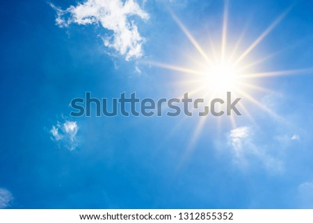 Summer background, wonderful blue sky with bright sun #1312855352