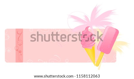 Summer banners with ice-creams, palm and floral ornament #1158112063