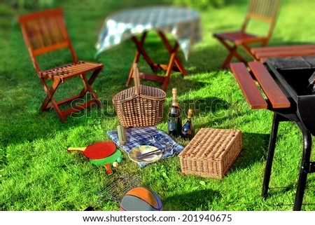 Summer BBQ Party or Picnic scene in backyard on lawn. Tilt-shift effect in background.