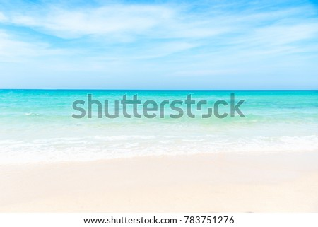 Summer Beach and Sky.  No people Empty sea and beach,  clouds background with copy space.  Summer Concept #783751276