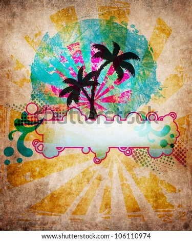 Summer beach design in grunge style