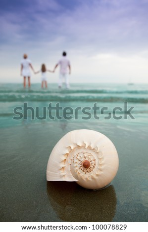 Summer beach - family on summer holiday