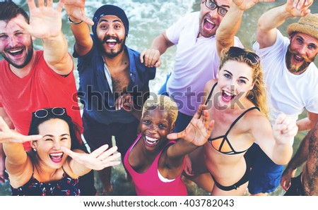 Summer Beach Friendship Holiday Vacation Concept #403782043