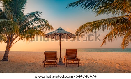 Summer beach landscape. Summer holiday and vacation concept. Inspirational tropical beach, palm trees and white sand. Tranquil scenery, relaxing beach, tropical landscape design. Moody landscape #644740474