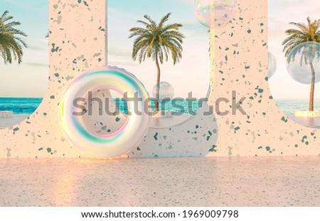 Summer beach scene background with holographic Inflatable ring Pool Float. 3d rendering.