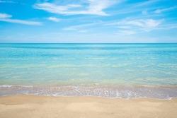 summer beach , sea and sky background , white sand
