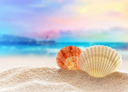 Summer beach. Two seashells on a sand and ocean as background.