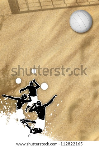 Summer Beach volleyball poster background with jumping man