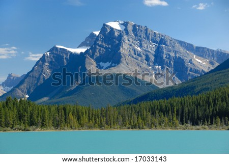 Summer beautiful lake view with mountain in Canadian Rockies