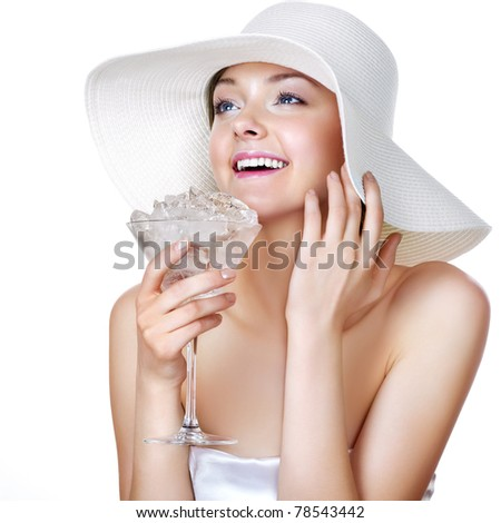 Summer beauty with glass full of ice. Hot summer concept.
