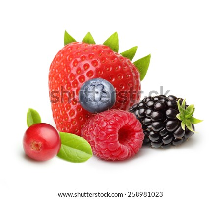 Summer berry fruits. Berries Isolated on White Background #258981023