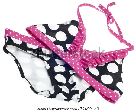 Summer Bikini Concept with Pink, Black and White Bathing Suit Isolated on White with a Clipping Path.