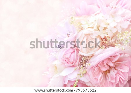 Summer blossoming delicate roses on blooming flowers festive background, pastel and soft bouquet floral card #793573522