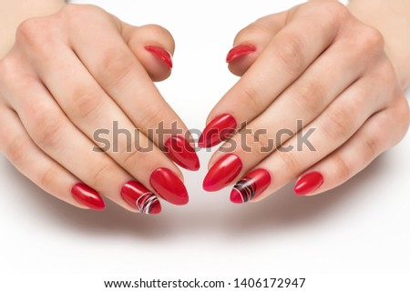 summer bright, red, scarlet manicure on long sharp nails with a black-and-white spiderweb on untitled nails on a white background #1406172947