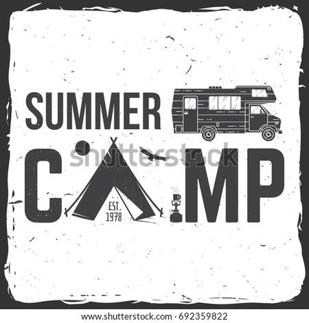 Summer Camp Concept For Shirt Or Logo Print Stamp Tee Vintage